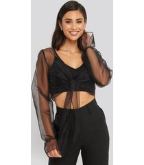 na-kd party cropped organza knot blouse - black