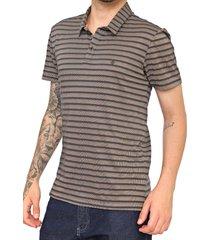 camisa polo forum reta listrada azul-marinho/bege