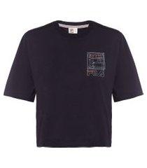 camiseta cropped logo heritage - preto
