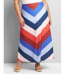 lane bryant women's knit kit pull-on chevron maxi skirt 26/28p swanson stripe