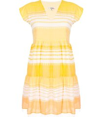 lemlem cotton stripe beach dress - yellow