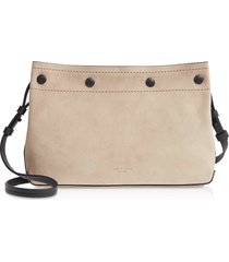 rag & bone designer handbags, warm grey suede compass snap crossbody bag