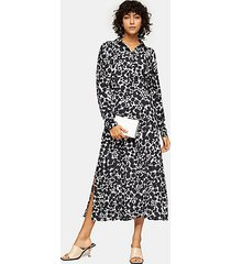 tall black and white print midi shirt dress - monochrome