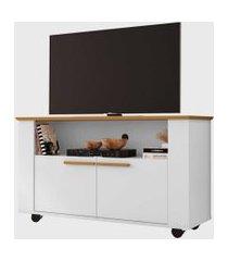 rack fenice para tvs até 42 pol. com rodízios cinamomo/branco móveis bechara