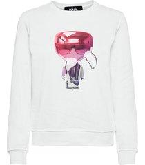 3d ikonik karl sweatshirt sweat-shirt tröja vit karl lagerfeld