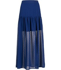 armani exchange long crepe a-line skirt - blue