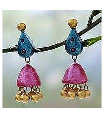 ceramic dangle earrings, 'lotus flair' (india)