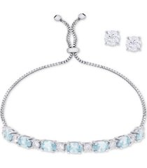 simulated aquamarine slider bracelet & cubic zirconia stud earrings set in fine silver-plate, march birthstone