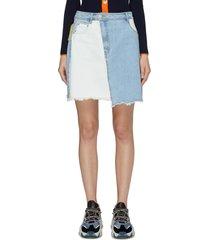 colourblock patchwork denim wrap mini skirt