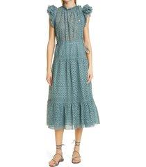 women's ulla johnson frill sleeve cotton eyelet dress, size 12 - blue/green