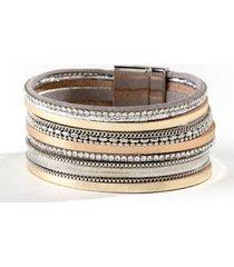 cali leather wrap bracelet - mixed plating