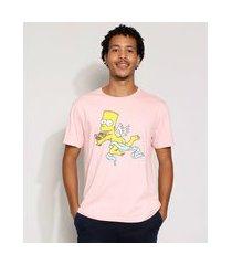 camiseta masculina manga curta bart simpson cupido gola careca rosa claro