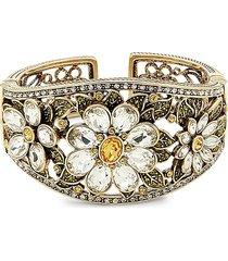 heidi daus women's fun floral glass crystal cuff bracelet