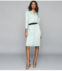 reiss lettie - knitted midi dress in pale blue, womens, size xl