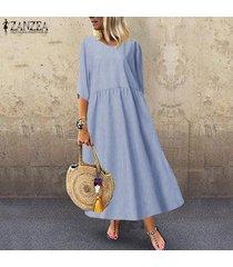 zanzea las mujeres más del tamaño de manga corta del cuello de o playa del vestido de los vestidos de rayas flojas de las señoras -azul