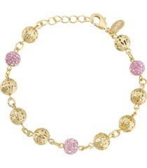 2028 gold-tone pink fireball and filigree beaded bracelet