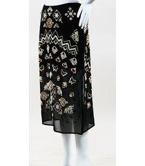 altuzarra zeramika beaded embroidered midi skirt beige/black sz: s