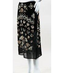 "black cotton & silk embellished ""zeramika"" midi skirt"