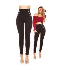 sexy hoge taille broek met knopen zwart