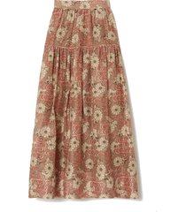 idalia floral-print cotton and silk-blend midi skirt