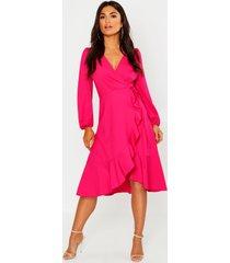 crepe ruffle wrap midi skater dress, pink