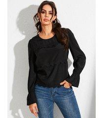 yoins blusa de manga larga con ribete de encaje negro redondo cuello blusa de manga larga