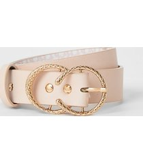river island girls pink ri printed double buckle belt
