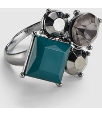 lane bryant women's faceted stone statement ring 11 deep teal