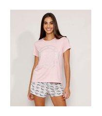 pijama feminino manga curta mulher maravilha metalizado rosa claro