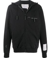 a-cold-wall* logo print zip-up hoodie - black