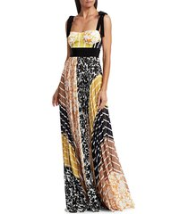 silvia tcherassi women's gemina pleated patchwork bustier maxi dress - yellow - size xs