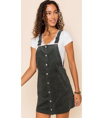 women's nena corduroy overall dress in olive by francesca's - size: l