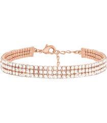 bracciale multifilo in metallo rosato con strass per donna