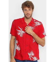 camisa manga curta ellus floral masculina