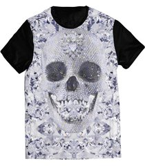 camiseta elephunk estampada caveira diamantes preta - kanui