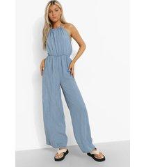 tall denim culotte jumpsuit met hoge hals, light blue