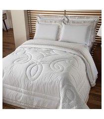 jogo de cama queen plumasul luxury percal 230 fios 4 peças branco