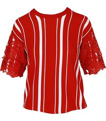 maje women's lace overlay striped top - red - size 3 (l)