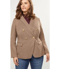 lane bryant women's bryant blazer - plaid double breasted 28 brown houndstooth