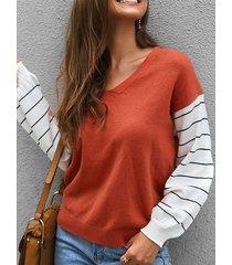 camicetta a manica lunga per donna a righe patchwork