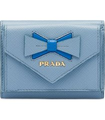 prada saffiano leather wallet with bow - blue