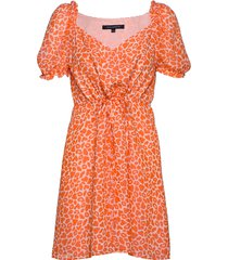 etta kiss print printed dress jurk knielengte oranje french connection