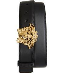 men's versace first line medusa head leather belt, size 110 eu - black/gold