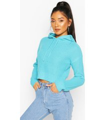 knitted hooded crop sweater, turquoise