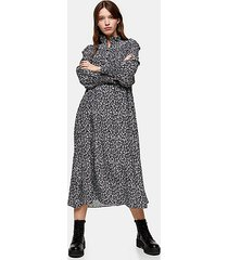 considered black and white floral recycled polyester chuck on dress - monochrome