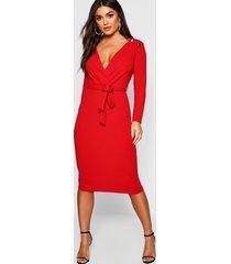 button shoulder belted midi dress, red