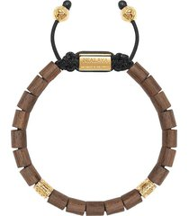nialaya jewelry adjustable beaded wood bracelet - brown