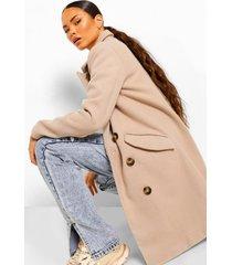 getailleerde nepwollen jas met dubbele knopen, stone