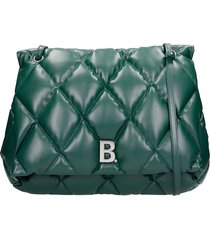 balenciaga touch puffy shoulder bag in green leather