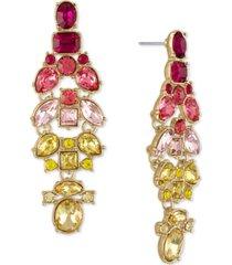 rachel rachel roy gold-tone multicolor crystal cluster drop earrings